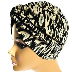 Brown Satin Lined Turban Hair Wrap - Hijab Scarf